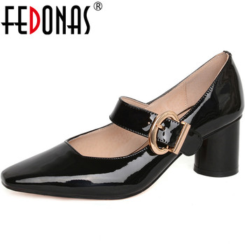 FEDONAS Fashion Women Metal Decoration Point Toe Shoes Party Prom Shoes New Slip On Fashion Consice Top Quality Shoes Woman