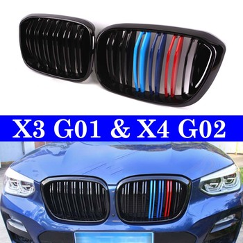 Двойная планка Передняя почечная решетка для BMW X3 G01 X4 G02 xDrive20i xDrive30i 2018 + гоночная решетка