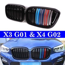 Dual Slats Front Kidney Grill For BMW X3 G01 X4 G02 xDrive20i xDrive30i 2018+  Racing Grille for 2018 all new bmw x3 g01 x4 g02 3d m motorsport stripe front grille trim strips decoration grill cover clips stickers