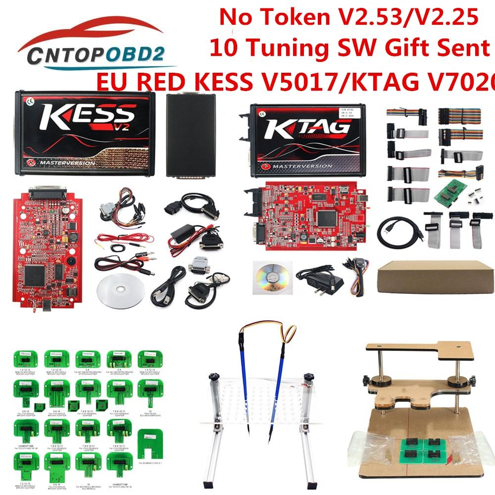 Online V2 53 for Red Kess V2 V5 017 KTAG V7 020 V2 25 OBD2 Manager ECU Tuning Kit kess v2 master full chip ECU programmer K TAG
