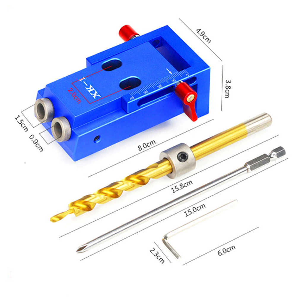 Pocket Hole Jig Kit System For Wood Working Joinery Step Drill Bit Accessories Wood Work Tool Set With Box
