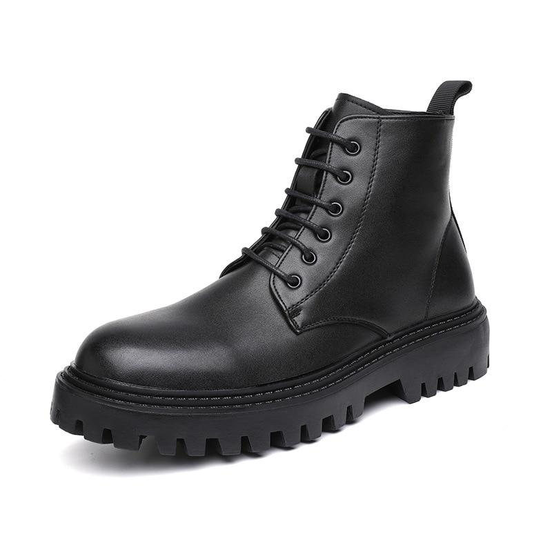 British style mens leisure platform boots lace-up original leather shoes black streetwear cowboy boot trend handsome ankle botas