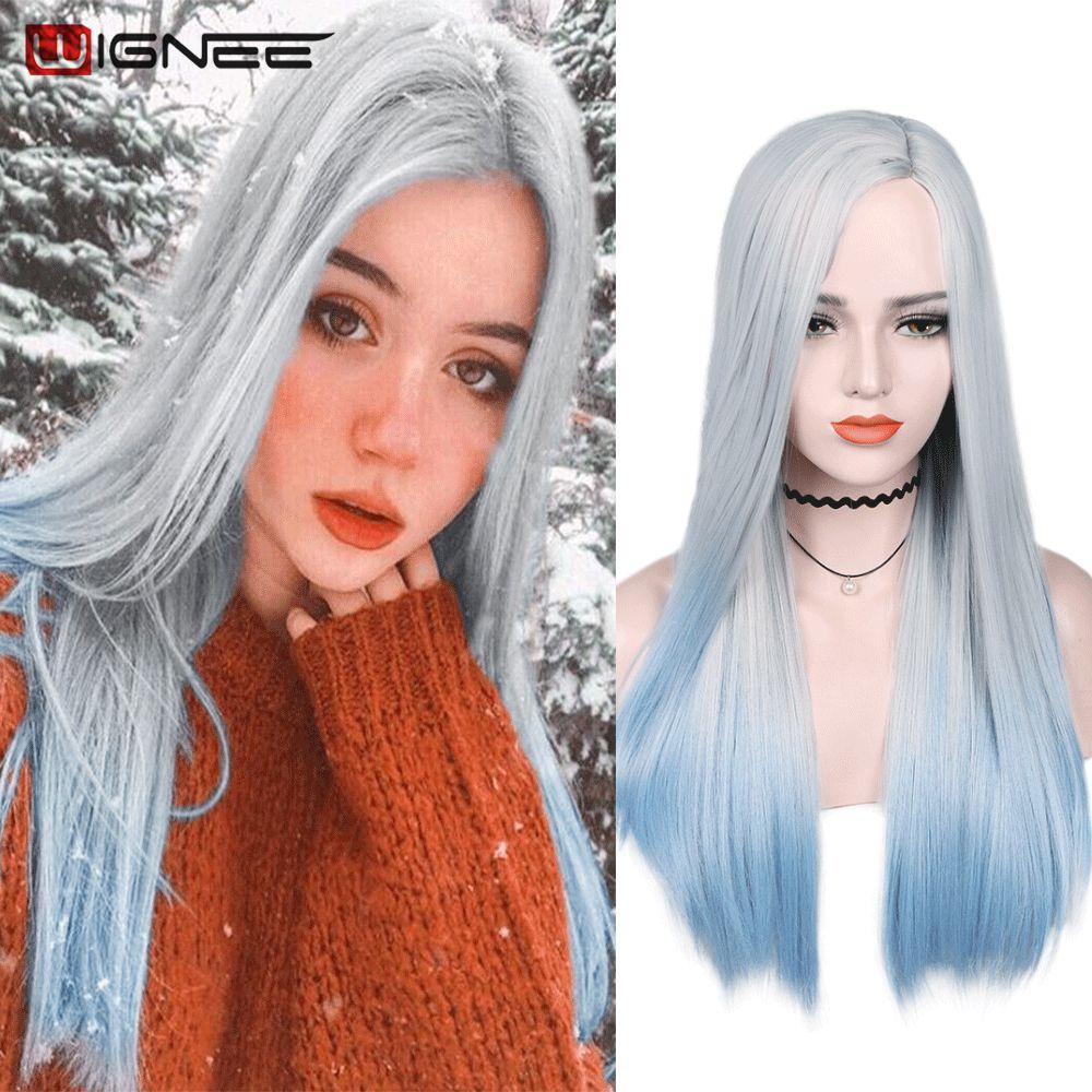Wignee branco a azul parte longa reta do lado do cabelo peruca sintética pacote de cabelo com fechamento jogo de festa de perucas pre-coloridas pacote