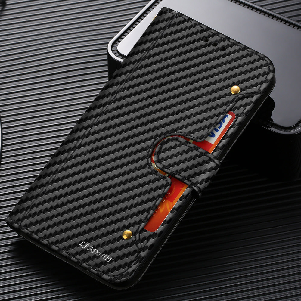 LLZ.COQUE Carbon Wallet Phone <font><b>Case</b></font> For <font><b>Samsung</b></font> Galaxy <font><b>S9</b></font> Plus S10 S7 Edge <font><b>Shockproof</b></font> Flip Card Slot Leather Cover For <font><b>Samsung</b></font> S8 image
