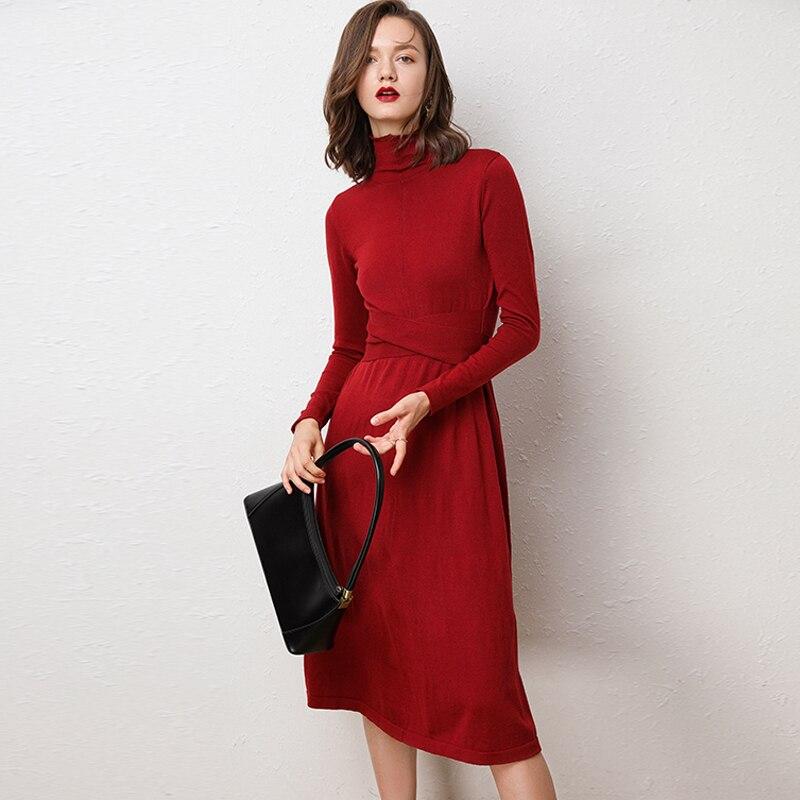 DSANNINGT femmes automne col haut robe en cachemire Type naturel ceinture tricots bureau Slim laine robe a-ligne couleur unie robes