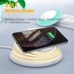 Image 2 - Essager Qi Wireless Charger สำหรับ iPhone 11 Pro XS MAX Samsung Fast Wireless CHARGING Pad Dock Station Light Night Light ผู้ถือ