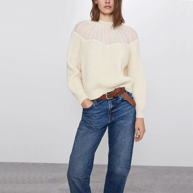 Autumn And Winter Women's Sweater Casual Solid Color Lace Stitching Sweater