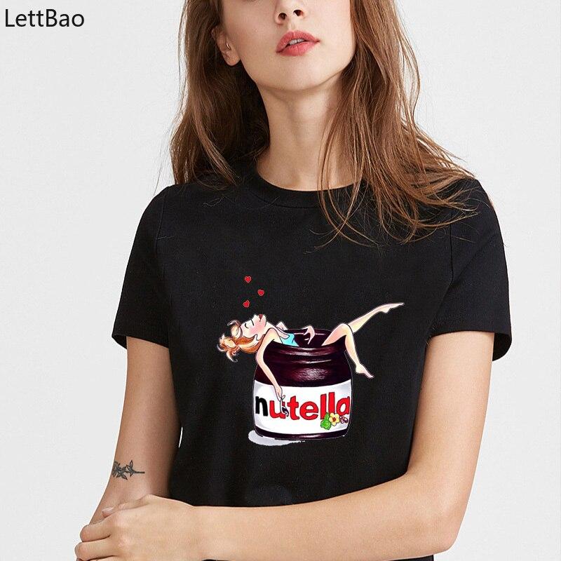 Nutella Women T Shirt 2019 Casual Immersive Girls Graphic  Shirts Summer Female Funny -shirt Short Sleeve Black Hispter Shirt