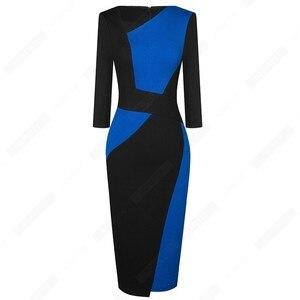 Image 3 - Vintage Women Patchwork Asymmetrical Collar Elegant Casual Work Office Sheath Slim Dress EB517