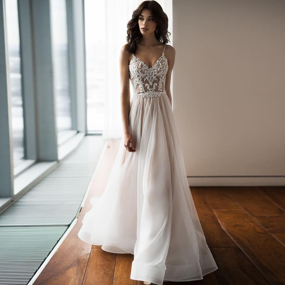 Charming Spaghetti Straps Beaded Top Wedding Dress Sexy Bohemian Bridal Gown With Court Train Vestido De Novia