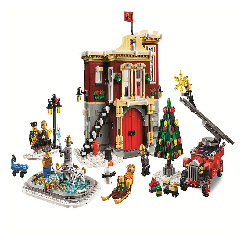 New Create Christmas Winter Village Station Model Building Blocks Gifts Compatible Legoinglys Friends Christmas Toy Gifts