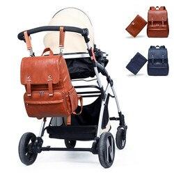 Moda momia PU bolsa de pañales térmico aislante viaje mochila de maternidad pañal cambiador bolsa cochecito bebé bolsa de alta calidad