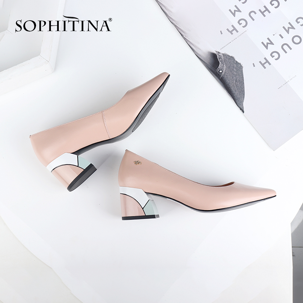 SOPHITINA Brand Pumps High Heels Spring Genuine Leather Basic Pointed Toe Colorful Shoes Square Heels Fashion Ladies Shoes C567