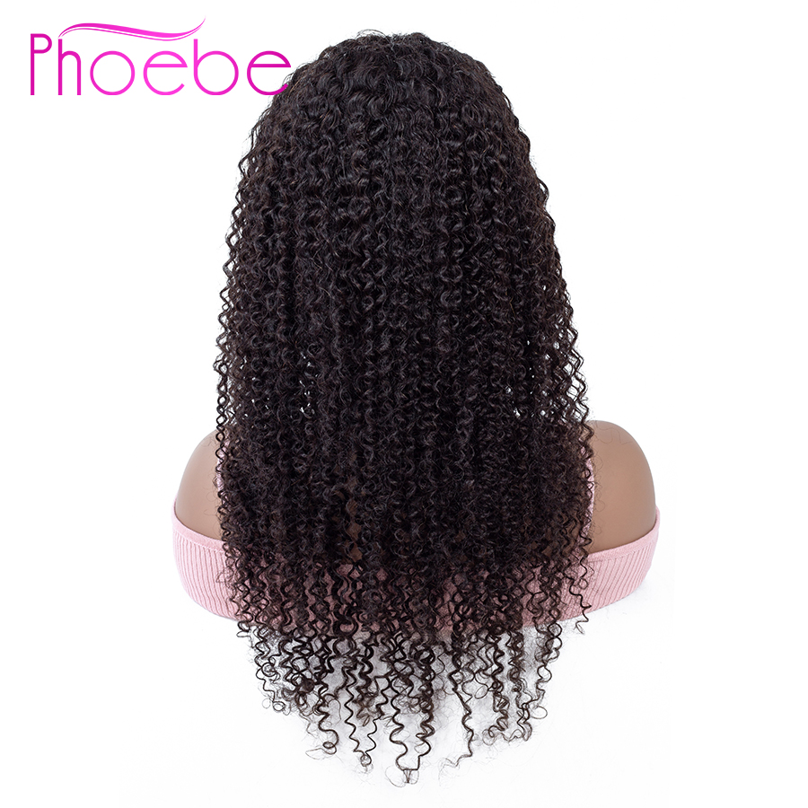 Phoebe 13x4 Lace Frontal Human Hair Wigs Peruvian Kinky Curly Lace Frontal Wig With Baby Hair For Women Non-Remy 130% Density