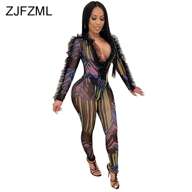 Mesh Ruffles See Through Printed Playsuit Women Deep V Neck Full Sleeve Package Hip Jumpsuit Fashion High Waist Slim Fit Overall