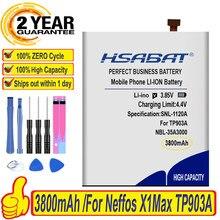 Hsabat 100% nova marca superior 3800 mah NBL-35A3000 bateria para tp-link neffos x1max tp903a tp903c