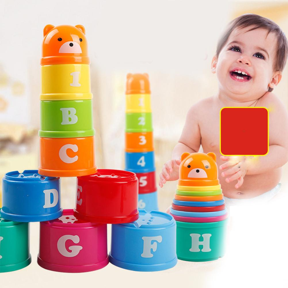 9Pcs Bear Figure Letters Folding Stack Cup Tower Baby Kids Developing Handeye Coordination Problem Solving Early Educational Toy