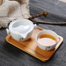 White Porcelain Quick Guest Cup, One Pot, One Pot, One Pot, Japanese Porcelain Portable Travel Tea Set