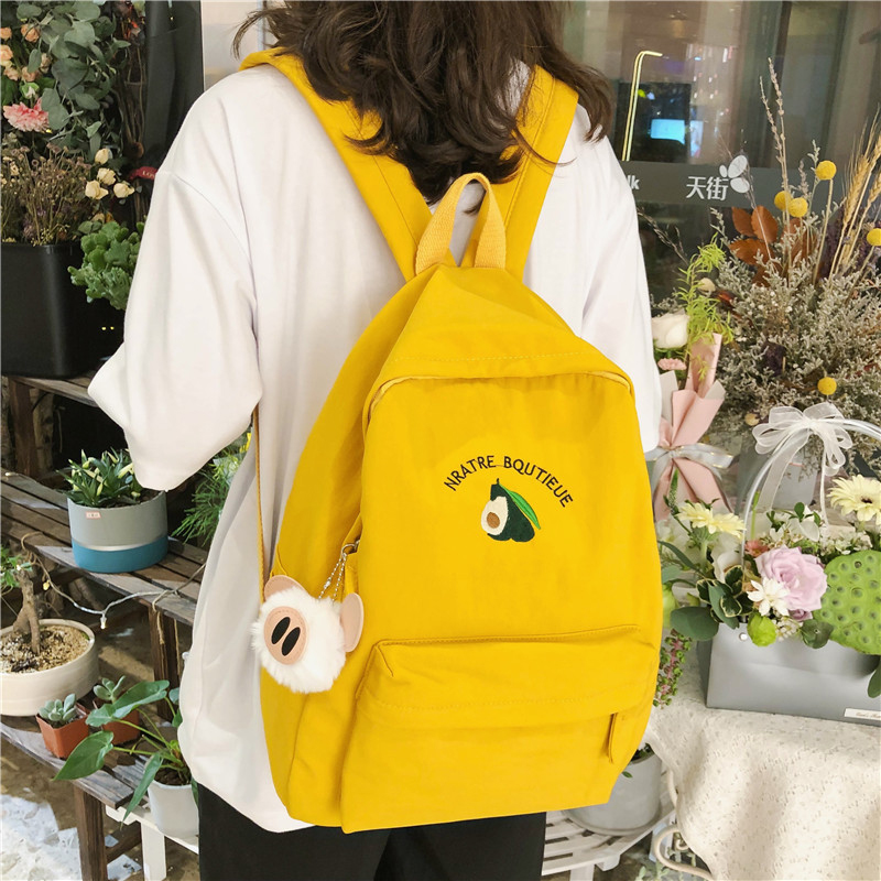 Preppy Style Canvas Backpack For Teenagers Avocado Travel Rucksack School Shoulder Bag Student Knapsacks Backpacks