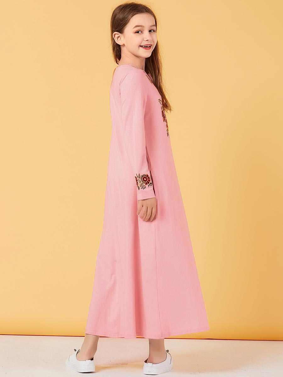 Della ragazza Musulmano Vestono I Bambini Del Ricamo Rosa Abaya Dubai Turchia Bangladesh Lungo Abiti Kaftan Turco Islamico Abbigliamento Abiti