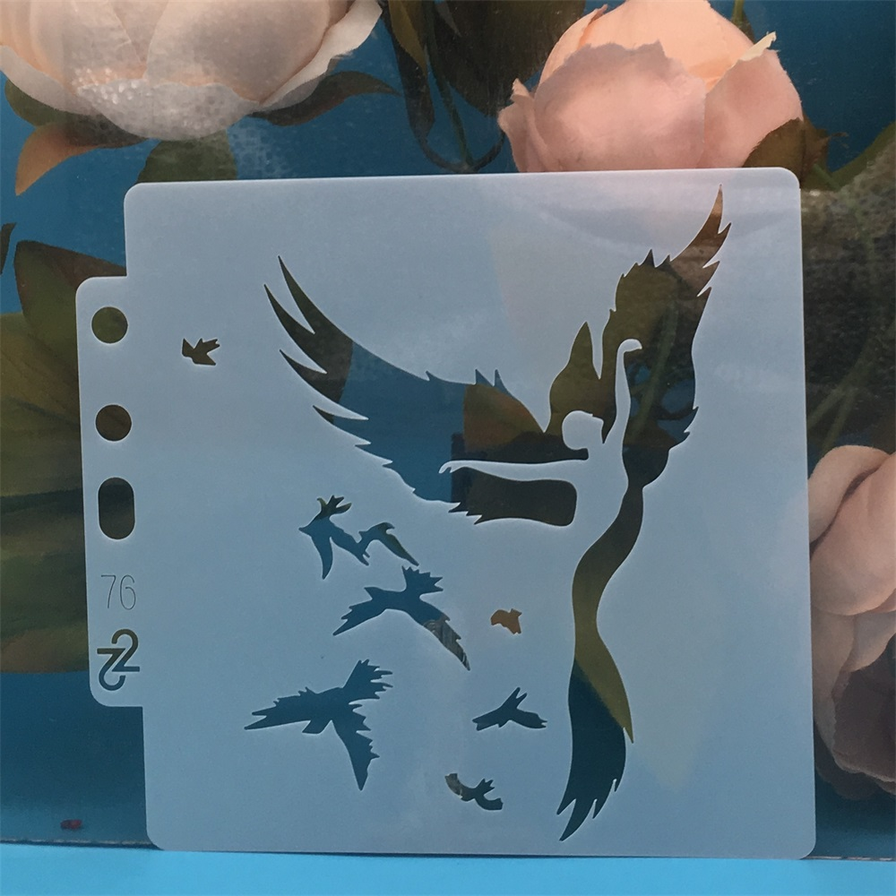 14*13cm Bird Flying Girl DIY Layering Stencils Painting Scrapbook Coloring Embossing Album Decorative Card Template