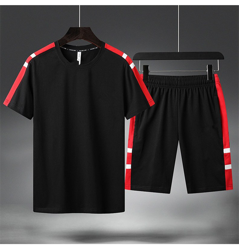 2 Pieces Fashion Casual Mens Sets Male Zipper Pockets Pants Summer Men's T Shirt Shorts Casual Suits Sportswear Mens Clothing