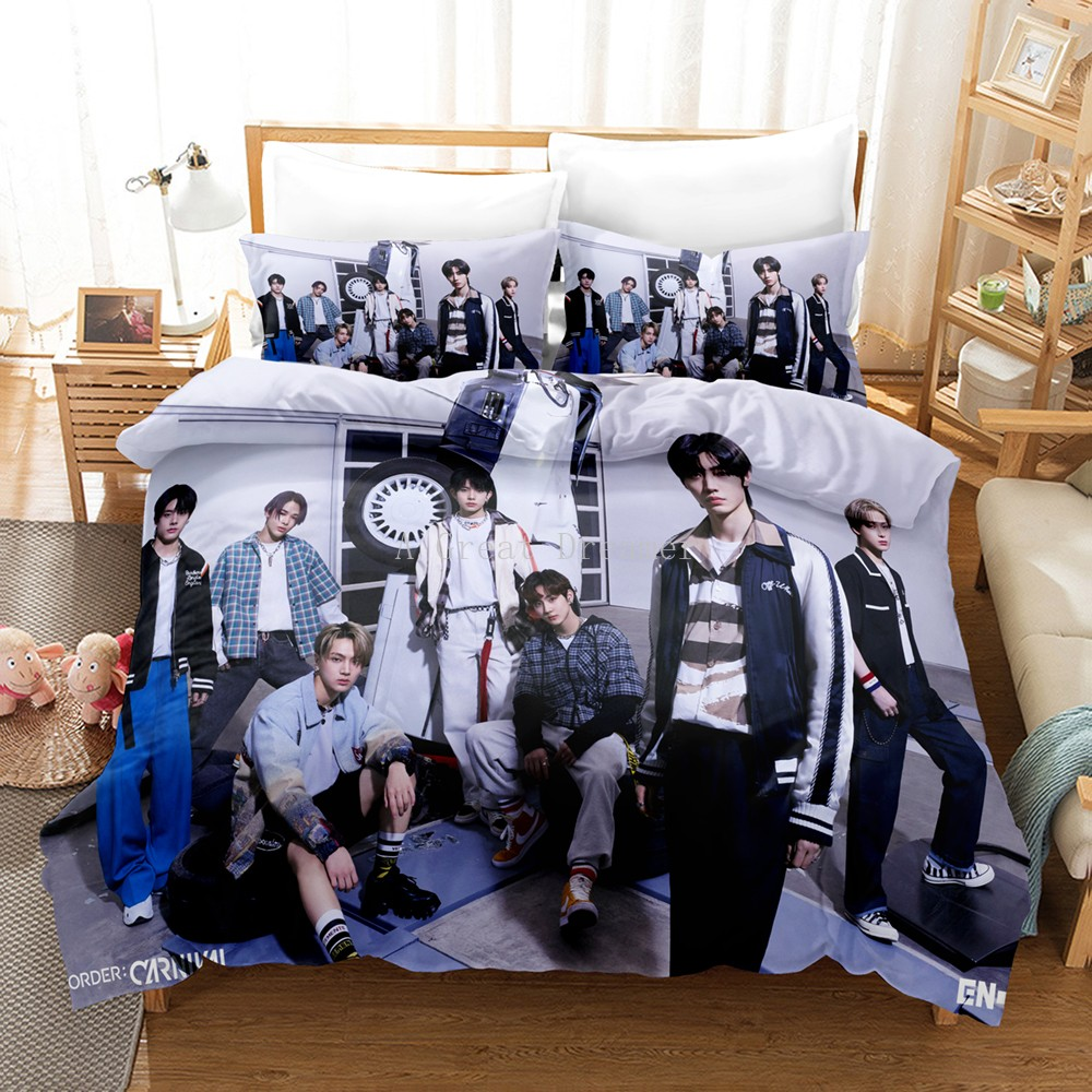 ENHYPEN Bedding Set Boy Group Idol Group Duvet Cover With Pillowcase Bedclothes Queen King Size For Kids Adults Bedroom Decor
