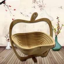 Складная корзина для хранения из натурального бамбука в форме фруктов и животных, корзина для фруктов и хлеба, кухонный контейнер для еды и пикника, Рождественский контейнер