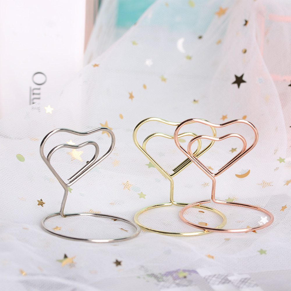 1Pcs Metal Cool Place Card Holder Wedding Party Desktop Decoration Romantic Heart Ring Shape Photo Clip Table Number Stand