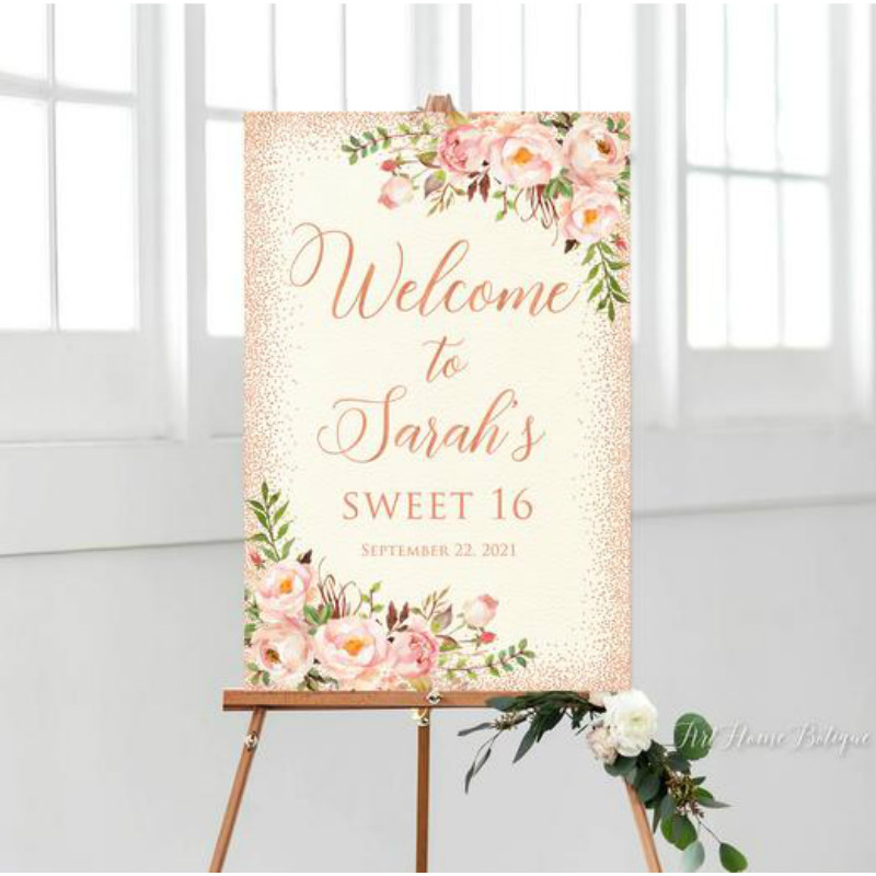 Custom Welcome Sign Sweet 16 Birthday Welcome Sign Birthday Welcome Sign Welcome To Sweet Sixteen Birthday Sign Canvas Sign Party Direction Signs Aliexpress