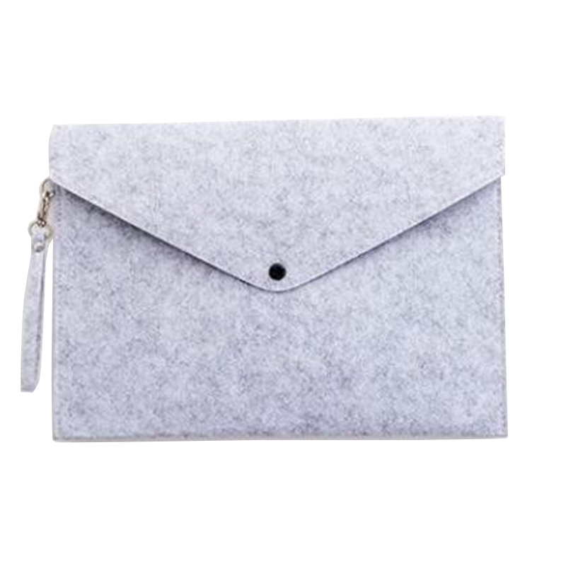 Light Grey 1PC Simple A4 Big Capacity Document Bag Pad Business Briefcase File Folders Chemical Felt Filing Products