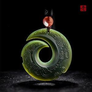 Натуральная темно-зеленая подвеска с нефритом с изображением дракона, символ богатства, Бог, Кулон, Ожерелье для мужчин и женщин, нефритовые...