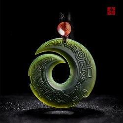 Doğal koyu yeşil nefrit kolye ejderha servet tanrı kolye kolye erkekler kadınlar yeşim takı ücretsiz halat
