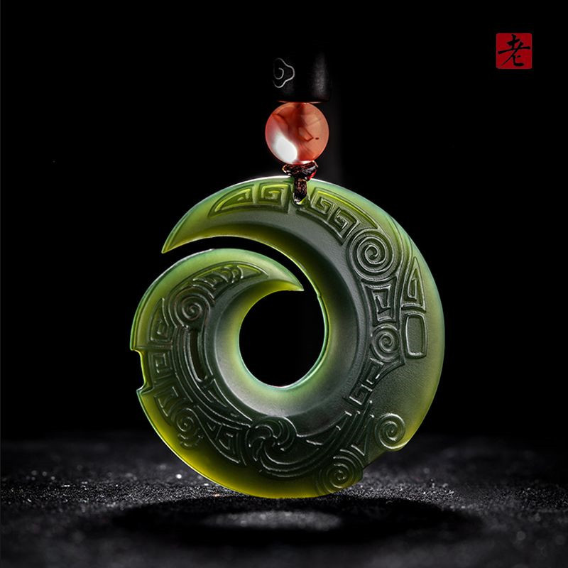 Natural Dark Green Nephrite Pendant Dragon Wealth God Pendant Necklace Men Women Jade Jewelry Free Rope