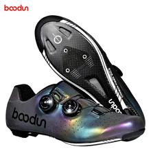 BOODUN 2020 nowe kolorowe świecące obuwie rowerowe z włókna węglowego outdoor mężczyźni kobiety profesjonalne buty rowerowe entuzjastów jazdy na rowerze tanie tanio CN (pochodzenie) Syntetyczny Oddychające Wysokość zwiększenie Wodoodporna Średnie (b m) Gumką Pasuje prawda na wymiar weź swój normalny rozmiar
