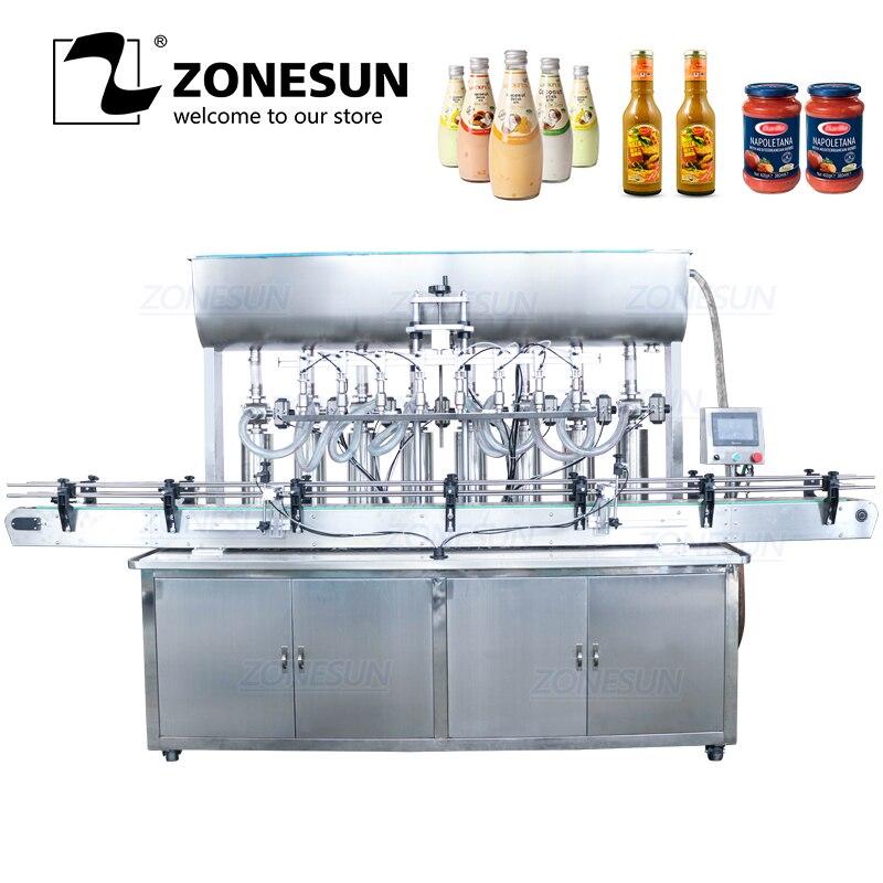 ZONESUN YT8T-8G Automatic Honey Fruit Juice Soap Detergent Alcohol Gel Paste 8 Heads Bottle Filling Machine Line