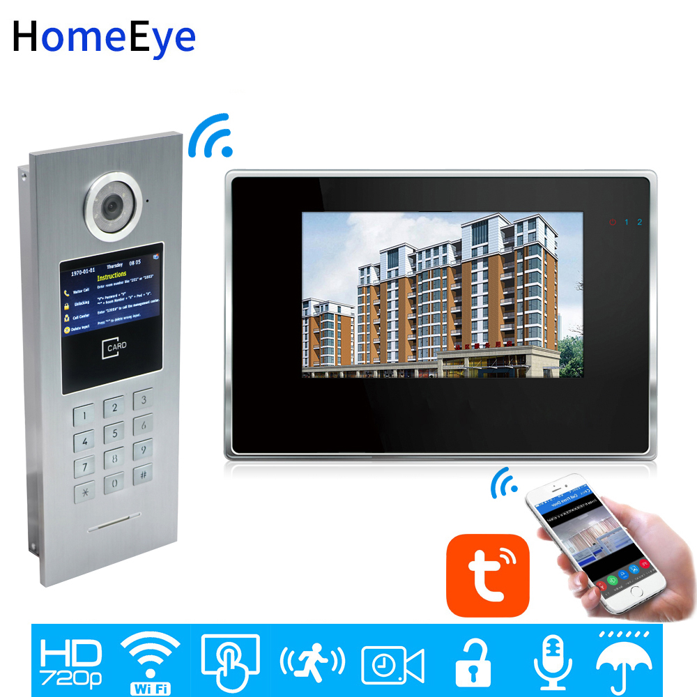 TuyaSmart APP Control WiFi IP Video Door Phone Intercom Video DoorBell Home Access Control System Password/IC Card Touch Screen