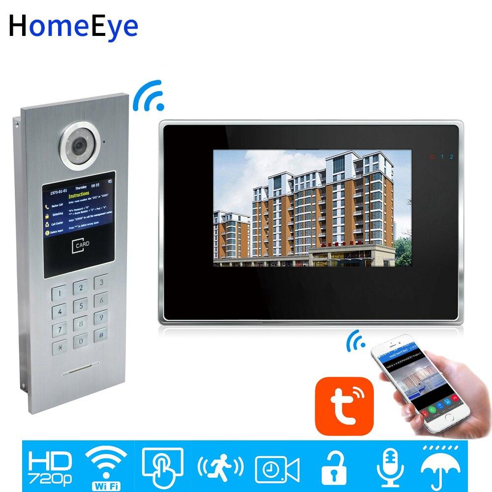 TuyaSmart APP Control WiFi IP Video Door Phone Intercom Video DoorBell Home Access Control System Password/IC Card Touch Screen