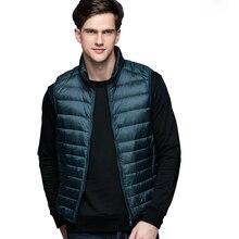 Chaleco de plumas de pato para hombre, chaquetas ultraligeras, ropa sin mangas para uso exterior, abrigo de otoño e invierno 90%, plumón de pato blanco