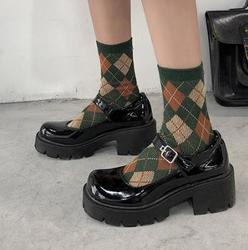 Sapatos de couro alto femininos, sapatos pequenos de couro para mulheres, modelos de primavera 2020, sapatos de plataforma retrô, salto alto japonês