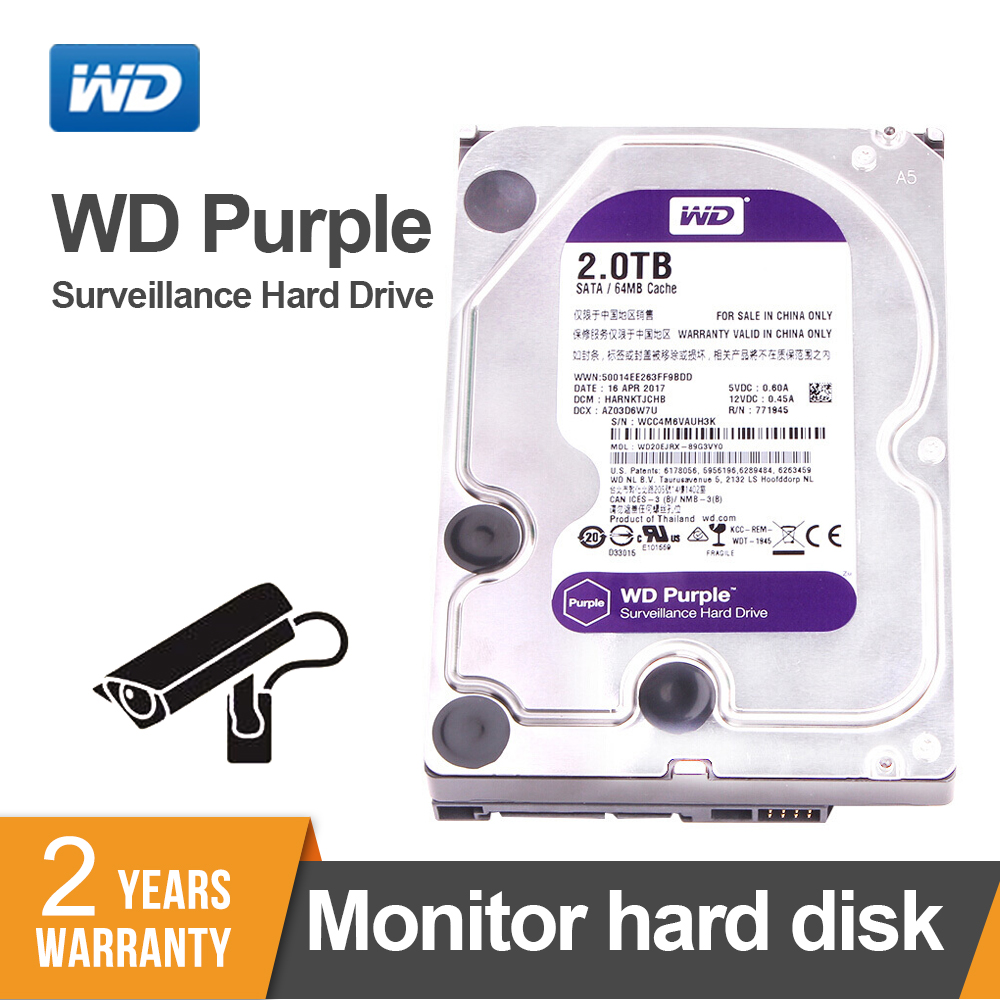 Western Digital 2 to WD Purple 2 to Surveillance HDD 64 mo SATA 6 Gb/s1 3.5