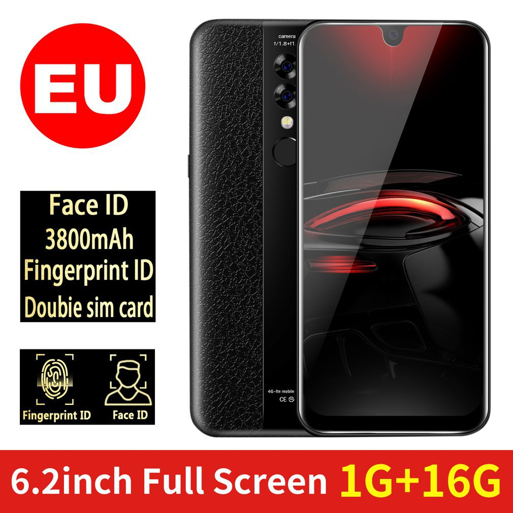 X23 6.2 Inch Smart Phone 2+32Gb Mobile Phone Waterdrop Display Triple Camera Fingerprint Face Recognition Smartphone