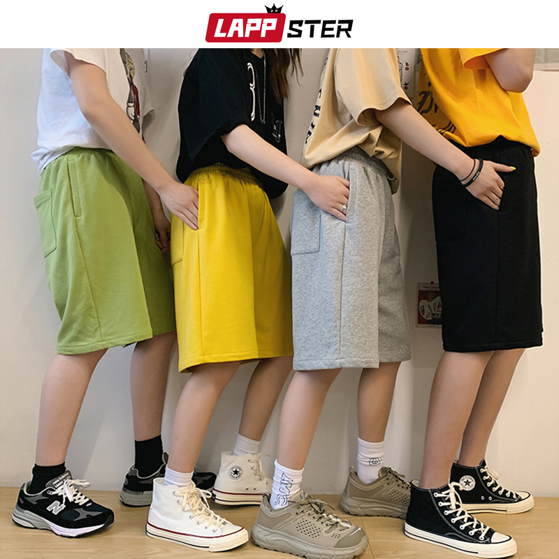 LAPPSTER Men 7 Colors Solid Cotton Sweat Shorts 2020 Summer Mens Korean Fashions Shorts Joggers Black Pocket Running Shorts 5XL