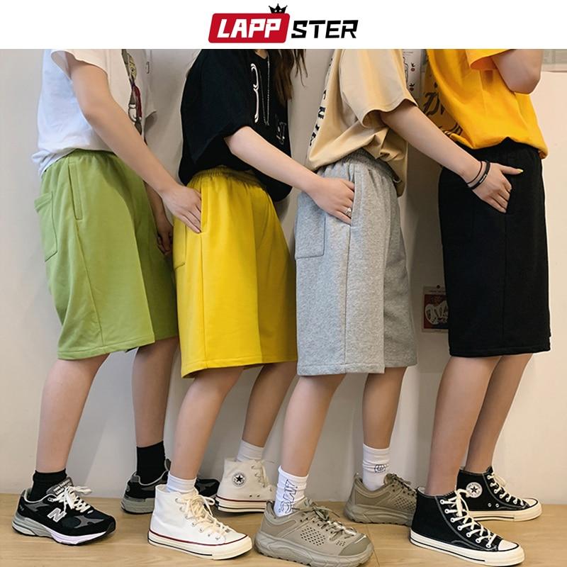 LAPPSTER Men 7 Colors Solid Cotton Sweat Shorts 2020 Summer Mens Korean Fashions Shorts Joggers Black Pocket Running Shorts 5XL