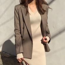 Vintage Double Breasted Lapel Collar Women Blazer Jackets with Pockets Retro Clo