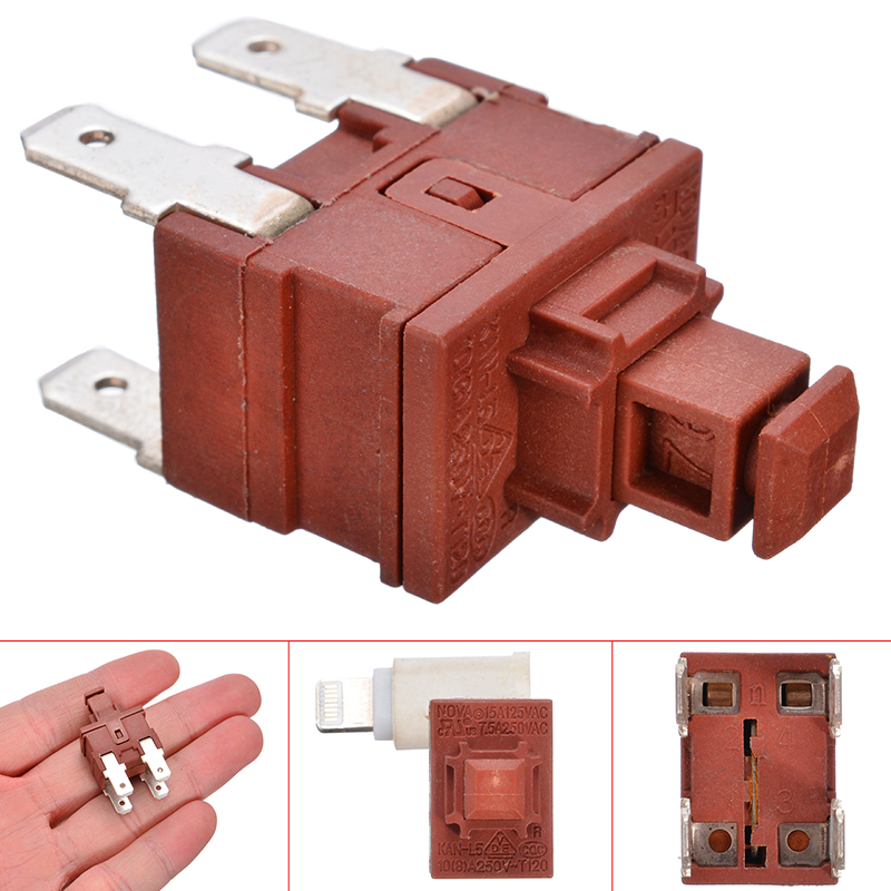 1pc Power Switch Push Button KAN-L5 Switch 7.5A 250V AC 4 Pin ON OFF T120 Water Heater Vacuum Cleaner Special Lock Self-locking