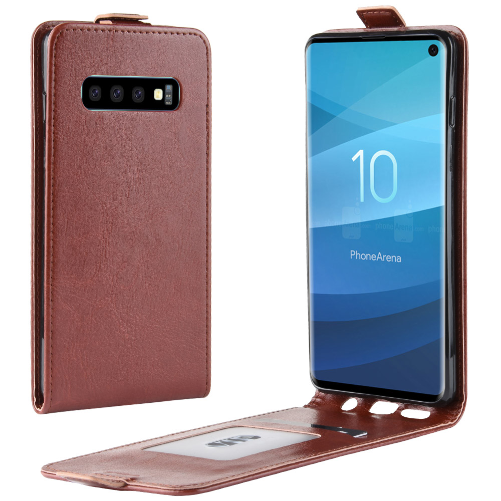 Case For Samsung Galaxy S10 (6.1In) Cover Down Open Style Flip Leather Thick Solid Card Slot Black 10S SM G973 SC03L SCV41