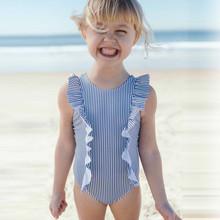 Stroje kąpielowe dla dziewczyn maluch dzieci dziewczęcy strój kąpielowy Ruffles strój kąpielowy Bikini paski one piece stroje kąpielowe kostiumy kąpielowe kostiumy kąpielowe tanie tanio MUQGEW Poliester Dziecko dziewczyny Jeden sztuk Pasuje prawda na wymiar weź swój normalny rozmiar W paski infant swimwear
