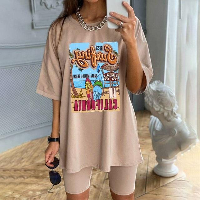 1pcs WHITE Tees Summer Casual Oversized Tee Best Surfing Santa Monica California Womens Retro Style T-Shirt Vacation Beach Shirt 1