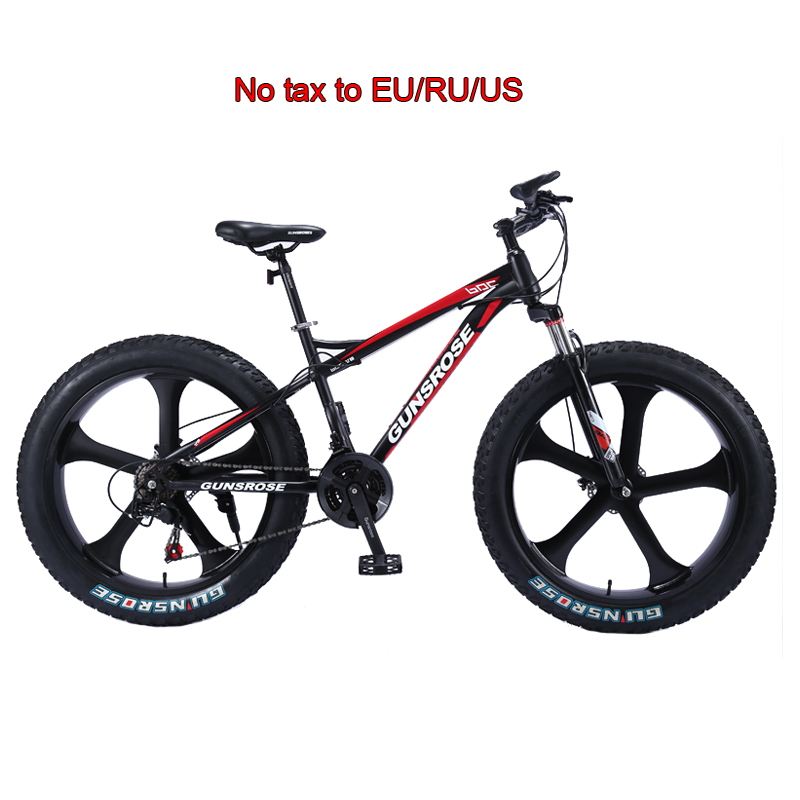 26 inch fat <font><b>bike</b></font> 5 knife wheel High carbon steel adult fat tire mountain <font><b>bikes</b></font> 4.0 big wheel bicycles Beach cruiser snow bicycle image
